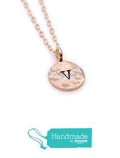 Rose Gold Initial Letter Necklace Stamped Handmade from Adorn512 https://www.amazon.com/dp/B01MZ5SP4N/ref=hnd_sw_r_pi_dp_R5WEybQQV6R5S #handmadeatamazon