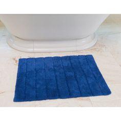Linen Tablecloth Stripe Cotton Bath Mat Color: Royal Blue