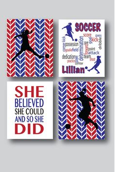 Set of 4 Soccer Prints Soccer Girl Soccer Poster by MDesignCompany