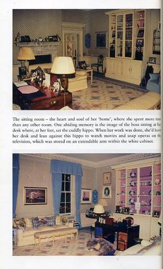 Diana's sitting room at Kensington Palace Pinned by TheChanelista on Pinterest