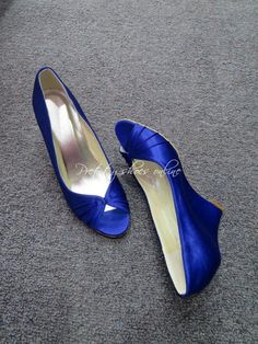 Cheap Royal Blue Wedding Wedge Heel Shoes Peep Toe Women For Bride Custom Made Plus Size 4 12 As Low 5662 Also Buy Designer Online