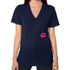 Curly Kiss V-Neck (on woman)