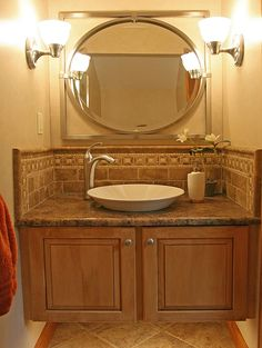 Would work for our bathroom. Love the sink, counter, MAYBE the backsplash, and the mirror.