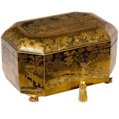 1STDIBS.COM - Antique & Art Exchange - Fine Export Tea Caddy ❤ liked on Polyvore featuring home, home decor, boxes, fillers, objects, decor, extras and antique home decor