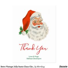 Retro Vintage Jolly Santa Claus ChristmasThank You Postcard Thank You Postcards, Thank You Cards, Love Hug, Christmas Past, Holiday Festival, Postcard Size, Paper Texture, Retro Vintage, Backdrops