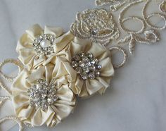 Pale Champagne Lace Bridal Sash Silk Flowers and by TheRedMagnolia, $116.00