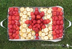 Canada flag inspired fruit platter for Canada Day, by FlutterFlutter blog.