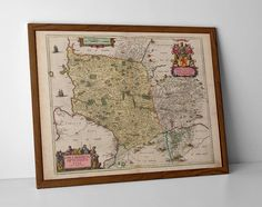 Antique Map of Ayr, originally created by Willem Janszoon Blaeu, now available as a 'museum quality' poster print.  #gift #kyle #Dunure #homedecor #travelposter #interiordesign #Girvan #hahnemuhle #prestwick #oldmap #oldayrmap #oldayrshiremap #arran #argyle #ayr #oldturnberrymap #scottishartmap #ScottishGift