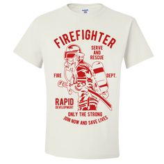 Firefighter T Shirt Gifts Only The Strong Serve and Rescue T-Shirts for Men Women Firemen Adult Unisex T-Shirt Unisex Gifts, Firemen, Firefighter, Strong, Mens Tops, T Shirt, Stickers, Women, Products