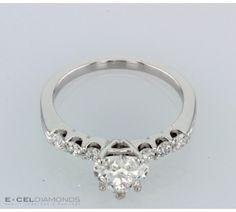 U Prong Round Diamond Accent Diamond Engagement Ring
