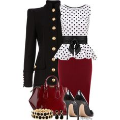 """""""Polkadot Peplum and Pencil"""" by stylesbyjoey on Polyvore"""