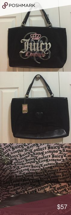Juicy Couture Purse Never used. black velour with pink glitter crown.Great price!!! Juicy Couture Bags Totes