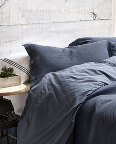 Au Lit Essential Goose Down Duvet Navy Bedding, Matching Bedding And Curtains, White Curtains, Comforter, Luxury Bedding Collections, Luxury Bedding Sets, Textured Duvet Cover, Beige Bed Linen, Hotel Collection Bedding