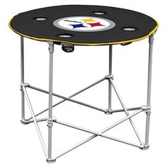 Pittsburgh Steelers  Collapsible Round Table  Cup Holders Carry Bag Camping Home #LogoBrands