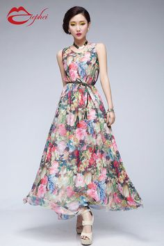 10% Off Sale Bohemian Floral Print Chiffon A-line Dress Full Pleated Skirt Beach Wedding Bridesmaid Evening Casual Holiday Fashion Ball Gown on Etsy, $115.00