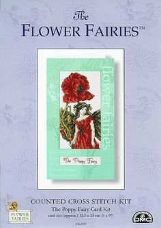 Cross stitch - fairies: Poppy fairy - Cicely Mary Barker - close-up segment (free pattern with chart)