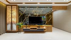 Design Greets Culture Permar House unit With Mandir room Layout Tv Cabinet Design, Tv Wall Design, Door Design, Ceiling Design, House Design, Mandir Design, Pooja Room Design, Tv Unit Furniture Design, Foyer Furniture