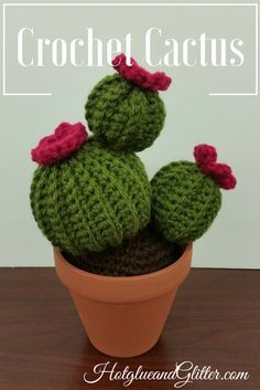 Crochet Cactus Plant – Free Pattern Stitches Used: Chain stitch, Single crochet, Slip stitch, Single Crochet 2 Together Yarn: 1 Skein each color Green for Cactus – …