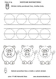 Úloha - Kreslíme kruhy - pracovný list k rozprávke O troch prasiatkach Alphabet Activities, Preschool Worksheets, Pre School, Kindergarten, Diagram, Teaching, Education, Pattern, Handwriting