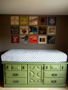 vintage dresser becomes a platform for a twin bed