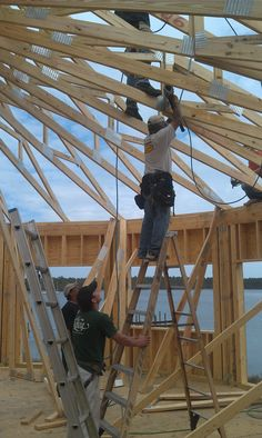 Working on the roof trusses