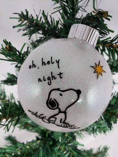 Peanuts-Inspired Snoopy, Glitter Ornament, Oh, holy night Charlie Brown Christmas Decorations, Paper Christmas Ornaments, Felt Christmas Decorations, Glitter Ornaments, Diy Christmas Ornaments, Diy Christmas Gifts, Holiday Crafts, Painted Ornaments, Handmade Ornaments