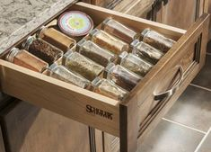 Never seem to have enough storage in your kitchen? Rather than cramming cookware and utensils in cabinets, consider making them part of the design. Kitchen Cabinet Organization, Kitchen Storage, Kitchen Cabinets, Spice Drawer, Organizing Your Home, Kitchen Layout, Getting Organized, Cookware, Pointers