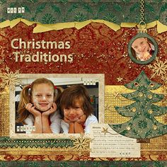 """""""Christmas Traditions"""" digital scrapbooking layout"""