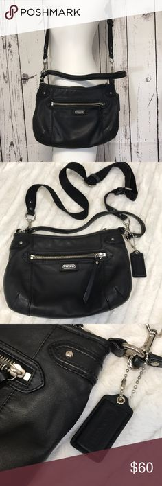 Coach hobo crossbody black leather Awesome coach can be used with just the small handle, or clip on the long adjustable strap. No dust bag. Leather (largest strap is not leather). Inside is grey. Measures 11 x 7. All zippers flow smoothly. No dust bag. Clean with little to no signs of wear. Snag a deal! Bundling is fun; check out my other items & save! Home is smoke free/ cat friendly. Plz, no price talk in comments. No trades or holds. Coach Bags Crossbody Bags