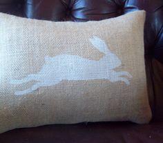 Leaping Bunny Burlap Pillow Cover 12 x 16 / Bunny Pillow / Farmhouse Pillow / Decorative Pillow. $27.00, via Etsy.