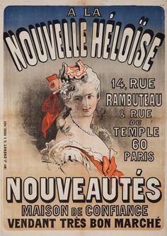 A La Nouvelle Héloïse (1871) Rue Du Temple, Jules Cheret, Paris, Travel Posters, Vintage Advertisements, Advertising, France, Baseball Cards, Movie Posters