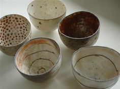 PRISCILLA MOURITZEN  Woodfired pinch pots, 2008  porcelain  heights c. 8 cm (3 inches)