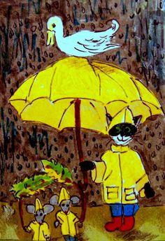 CAT ACEO ATC Duck Weather cat duck mice umbrella raingear rain whimsical cartoon #Miniature