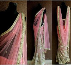 PSS304: Look stunningly chic in this sensuous salmon pink half and half saree  #PritiSahni #pritisahnisarees #indiandesigner #indiandesigners #ilovesaree #sari #custommade #fashiondiaries #fashion #couture #contemporary #sareelove #sarees #100sareepact #elegance #handmade #embroidery #luxury #fblogger #stylist #fashionstylist #bridalcouture #instadaily #instasaree #bigindianwedding #bride #bridetobe #southasianbride #bespoke #photooftheday
