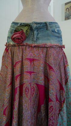 Rosette fuchsia turquoise silk bohemian jean faerie skirt by bohemienneivy