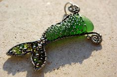 Emerald Green MERMAIDs TAIL wire wrapped seaglass pendant.