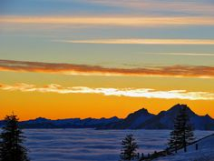 Amazing view above the fog from mount Rigi