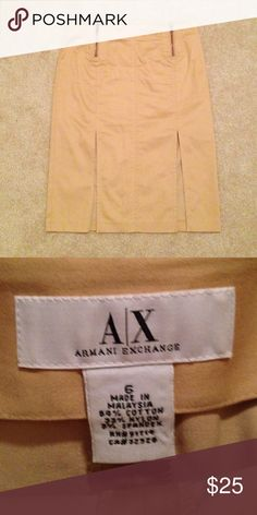 Armani exchange khaki skirt Two slits in the front, none in the back, no pockets, knee length. Front zippers can be pulled down. Armani Exchange Skirts Midi