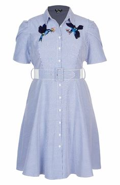 Main Image - City Chic Stripe Essence Shirtdress (Plus Size) Plus Size Dresses, Plus Size Outfits, Shirtdress, City Chic, Vintage Shoes, Formal, Flare Dress, Fit And Flare, Plus Size Women