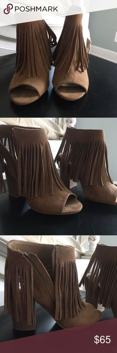 Peep toe Fringe booties Worn once out for the night! Super cute and perfect condition! All offers accepted use button! Shoes Ankle Boots & Booties