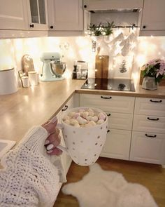 This kitchen is beautiful! Those lights add such a great mood, plus it looks so … This kitchen is beautiful! Those lights add such a great mood, plus it looks so cozy! 😍 Would you love this kitchen? 🔪 TAG a friend who will LOVE this! Budget Home Decorating, Interior Decorating, Interior Design, Elegant Home Decor, Elegant Homes, Online Furniture Stores, Online Home Decor Stores, Furniture Shopping, Online Shopping
