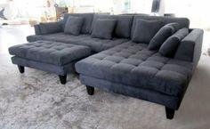 Amazon.com - 3pc New Modern Dark Grey Microfiber Sectional Sofa Chaise Ottoman Set S168RDG - Stendmar Sectional