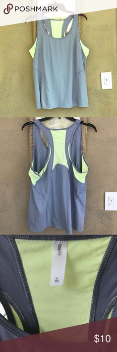 Gap racerback workout tank Grey and yellow workout tank. Great condition! Super comfortable! Breathes easy for those grueling workouts! GAP Tops Tank Tops