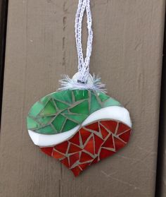 Green & red mosaic ornament - Glass Needle Works
