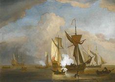 Корабли в живописи Виллем ван де Вельде младший.