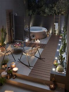 Ideas For Creating Wonderful Backyard Patio Designs - Zillow Patios Hot Tub Backyard, Small Backyard Gardens, Backyard Garden Design, Backyard Patio, Backyard Ideas, Patio Ideas, Hot Tub Deck, Garden Path, Pergola Ideas