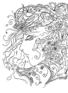 girl in dream printable adult coloring page feminine by artbyaeris