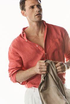 81060cfdd8 Guy Robinson for the Massimo Dutti's Linen Essentials Spring Summer 2017  Lookbook Coral Shirt, Beach
