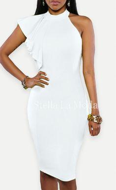 One Shoulder Ruffle Sleeve Midi Dress