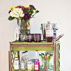 Create a modern and colorful bar cart following this DIY tutorial.